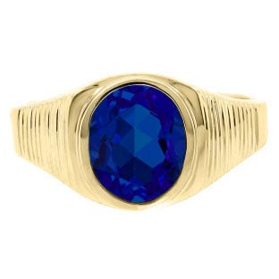Men's Oval-Cut Sapphire Gemstone Simple Yellow Gold Ring