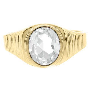 Men's Oval-Cut White Topaz Gemstone Simple Yellow Gold Ring