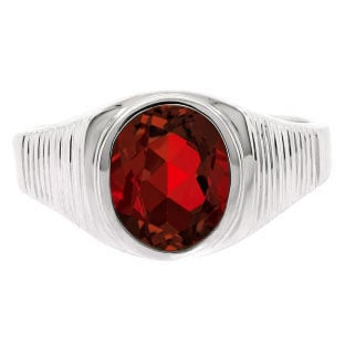 Men's Oval-Cut Garnet Gemstone Simple White Gold Ring