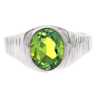 Men's Oval-Cut Peridot Gemstone Simple Sterling Silver Ring