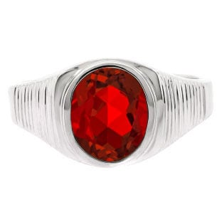 Men's Oval-Cut Ruby Gemstone Simple Sterling Silver Ring