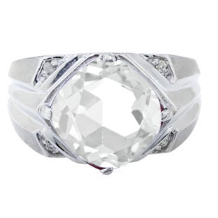White Gold Men's Large Antique Cushion Cut CZ Diamond Ring