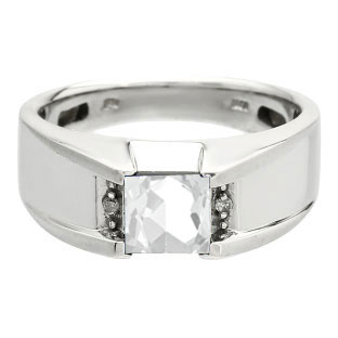 Diamond and Square CZ Men's White Gold Ring