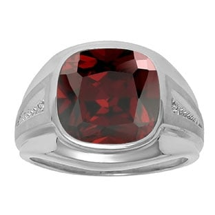 Diamond and Red Garnet Men's Large Ring In White Gold
