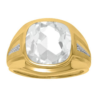 Diamond and White Topaz Men's Large Ring In Yellow Gold