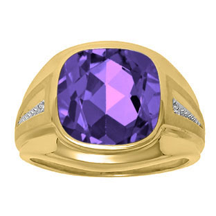 Diamond and Purple Amethyst Men's Large Ring In Yellow Gold