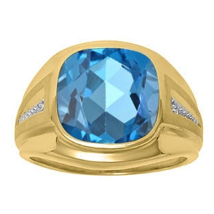 Diamond and Blue Topaz Men's Large Ring In Yellow Gold