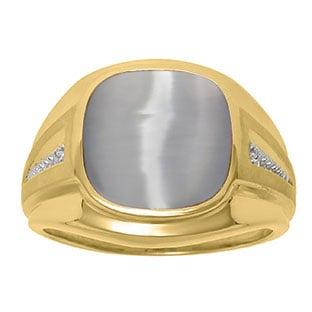 Diamond and Grey Cat Eye Men's Large Ring In Yellow Gold