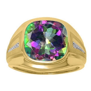 Diamond and Mystic Fire Topaz Men's Large Ring In Yellow Gold