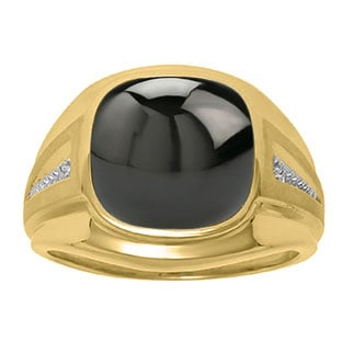 Diamond and Black Onyx Men's Large Ring In Yellow Gold