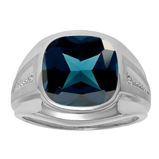 Diamond and London Blue Topaz Men's Large Ring In Sterling Silver