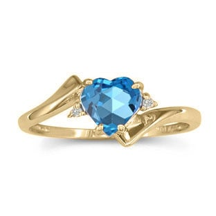 Diamond Heart Shaped Blue Topaz Birthstone Yellow Gold Ring
