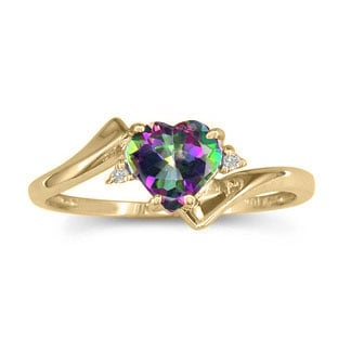 Diamond Heart Shaped Mystic Topaz Birthstone Yellow Gold Ring