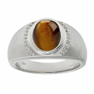 Men's Oval-Cut Tiger Eye and Diamond Ring In White Gold