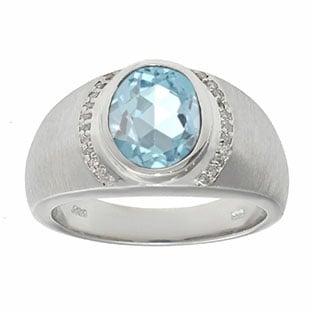 Men's Oval-Cut Aquamarine and Diamond Ring In White Gold