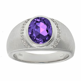 Men's Oval-Cut Amethyst and Diamond Ring In White Gold