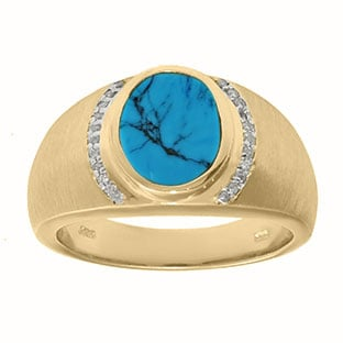 Men's Oval-Cut Turquoise and Diamond Ring In Yellow Gold