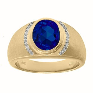 Men's Oval-Cut Sapphire and Diamond Ring In Yellow Gold