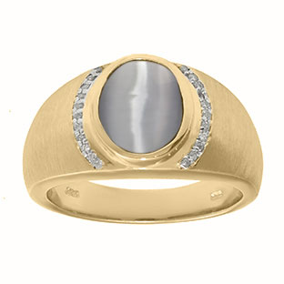 Men's Oval-Cut Light Grey Cat Eye and Diamond Ring In Yellow Gold
