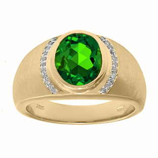 Men's Oval-Cut Emerald and Diamond Ring In Yellow Gold