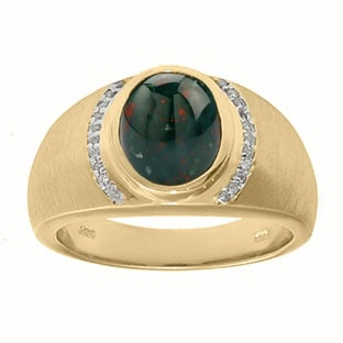Men's Oval-Cut Bloodstone and Diamond Ring In Yellow Gold