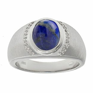 Men's Oval-Cut Lapis and Diamond Ring In Sterling Silver