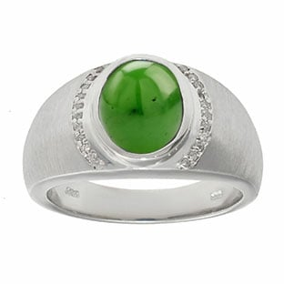 Men's Oval-Cut Jade and Diamond Ring In Sterling Silver