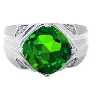 Sterling Silver Men's Large Emerald and Diamond Ring