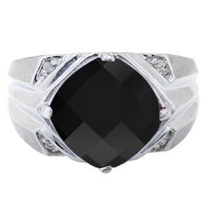 Sterling Silver Men's Large Black Onyx and Diamond Ring
