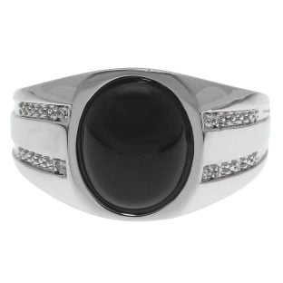 Oval-Cut Black Onyx and Diamond Men's Ring In Sterling Silver