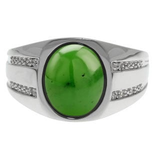 Oval-Cut Jade and Diamond Men's Ring In Sterling Silver