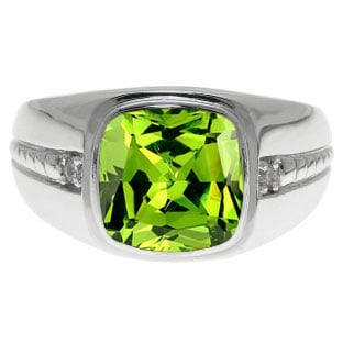 Cushion-Cut Peridot Gemstone and Diamond Men's Ring In Sterling Silver