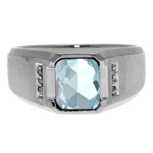 Diamond and Emerald Cut Aquamarine Gemstone Men's Ring In Sterling Silver