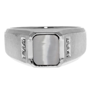 Diamond and Emerald Cut Cat Eye Gemstone Men's Ring In Sterling Silver