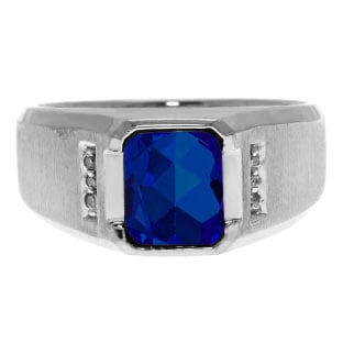 Diamond and Emerald Cut Sapphire Gemstone Men's Ring In Sterling Silver
