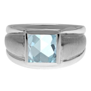 Sterling Silver Men's Square Aquamarine Ring