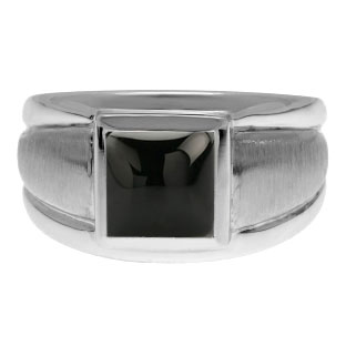 Sterling Silver Men's Square Black Onyx Ring