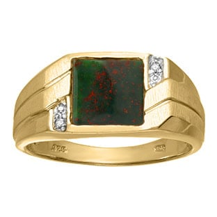 Men's Square Bloodstone Diamond Ring In Yellow Gold