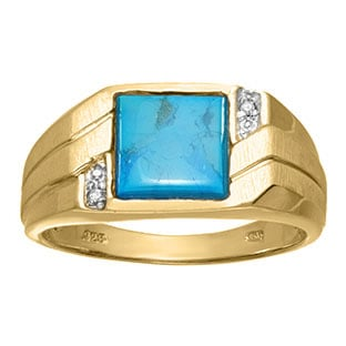 Men's Square Turquoise Diamond Ring In Yellow Gold