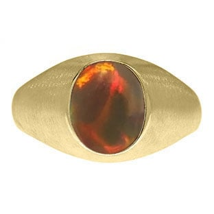 Oval-Cut Black Opal Stone Custom Men's Pinky Ring In Yellow Gold