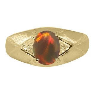 Mens Jewelry - Men's Yellow Gold Ring With Black Opal Stone and Diamonds
