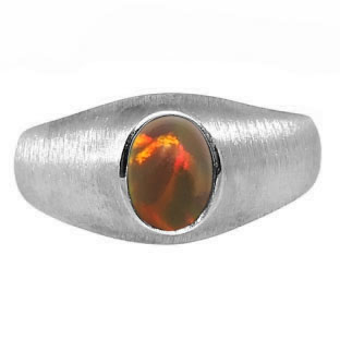 White Gold Pinky Ring For Men Oval-Cut Black Opal Gemstone