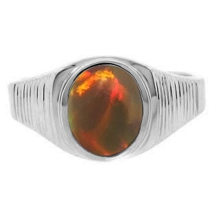 Men's Oval-Cut Black Opal Gemstone Simple Sterling Silver Ring