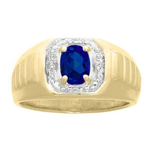 Diamond and Yellow Gold Men's Blue Sapphire Ring