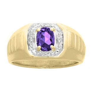 Diamond and Yellow Gold Men's Purple Amethyst Ring