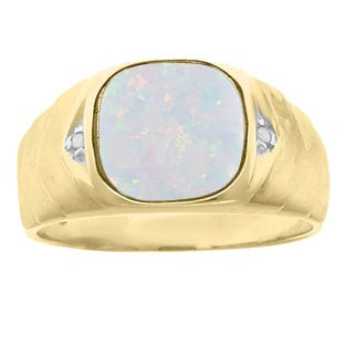 Men's Diamond Antique Cut Opal Ring In Yellow Gold