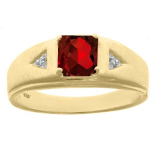 Diamond and Princess Cut Garnet Mens Ring In Yellow Gold