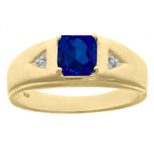 Diamond and Princess Cut Sapphire Mens Ring In Yellow Gold