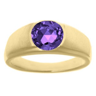 Men's Birthstone Rings - Round Amethyst Birthstone Ring In Yellow Gold