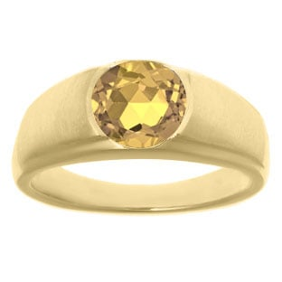 Men's Birthstone Rings - Round Citrine Birthstone Ring In Yellow Gold